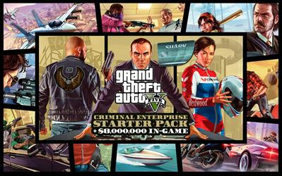Grand Theft Auto V, Criminal Enterprise Starter Pack and Megalodon Shark Card Bundle cover